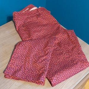 Ann Taylor Loft Paisley Print Pink Pants
